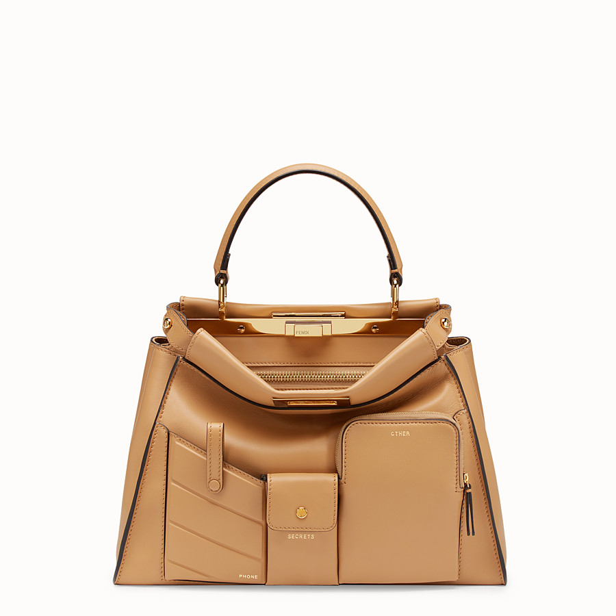 FENDI PEEKABOO REGULAR POCKET - Beige leather bag - view 1 detail