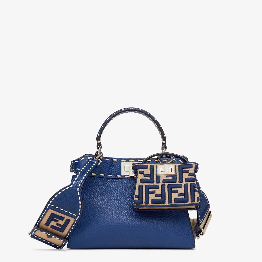 FENDI PEEKABOO ICONIC MINI - Blue full grain leather bag - view 6 detail