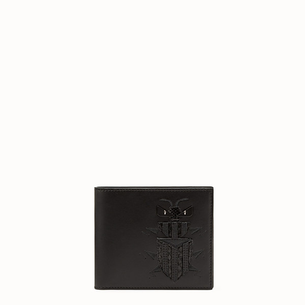 FENDI BI-FOLD WALLET - Black leather bi-fold wallet with exotic leather details - view 1 small thumbnail