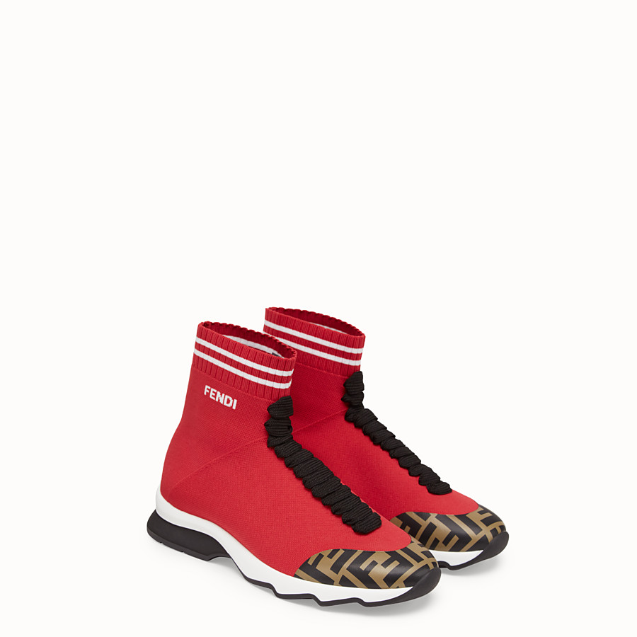 FENDI SNEAKERS - Red fabric sneaker boots - view 4 detail