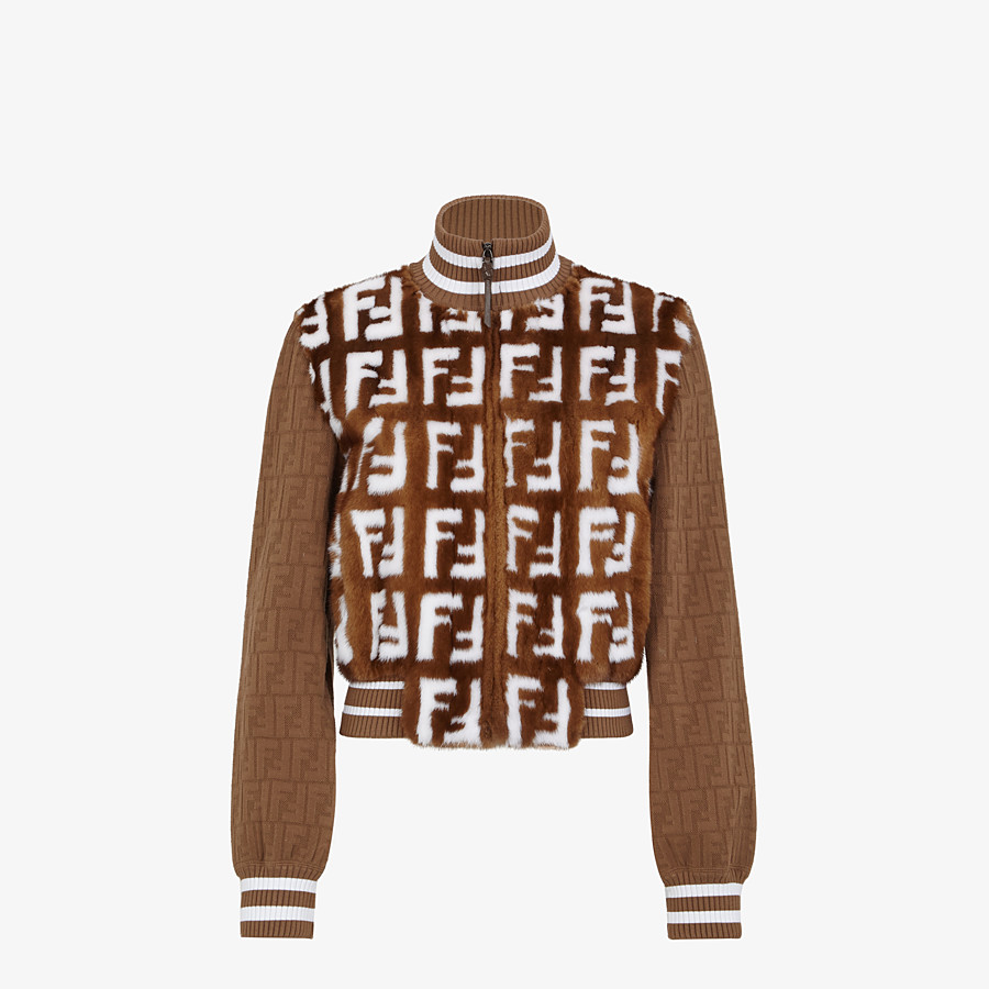 FENDI BOMBER - Knit and inlaid mink fur bomber jacket - view 1 detail