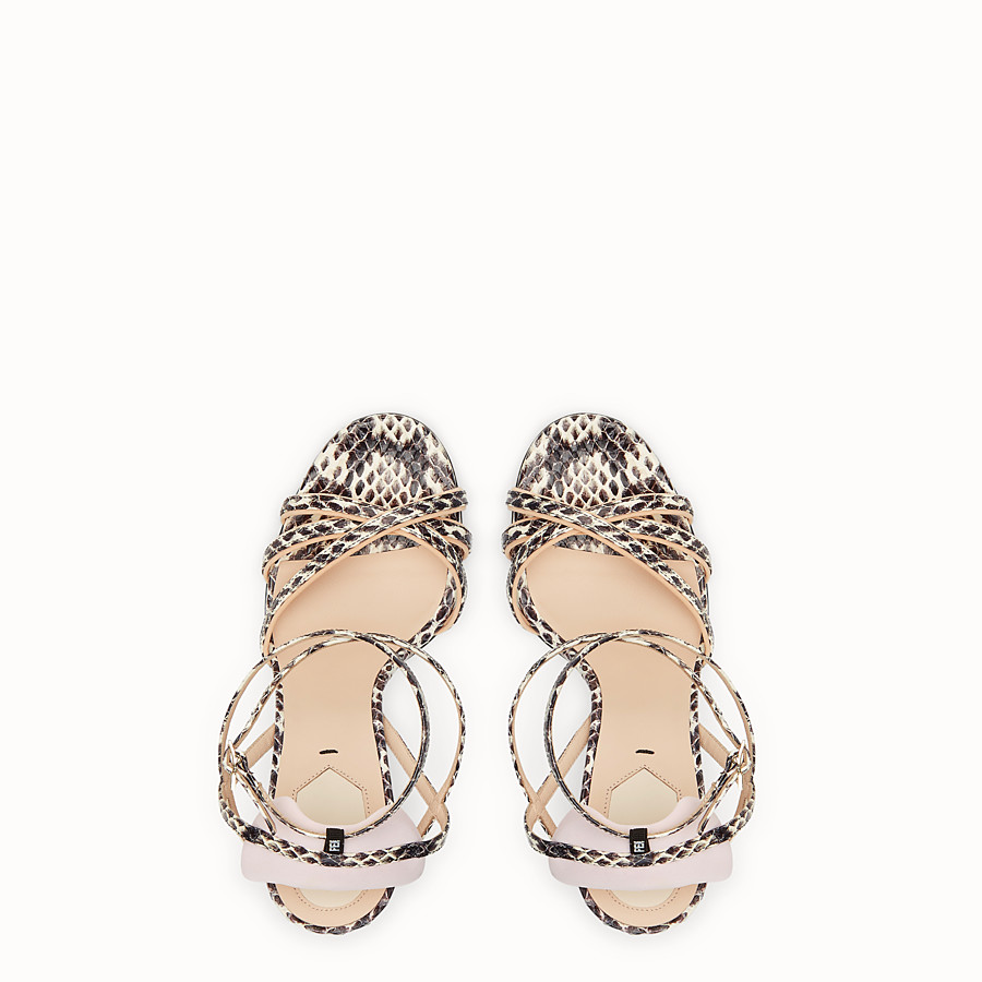 FENDI SANDALS - Rock-coloured elaphe sandals - view 4 detail