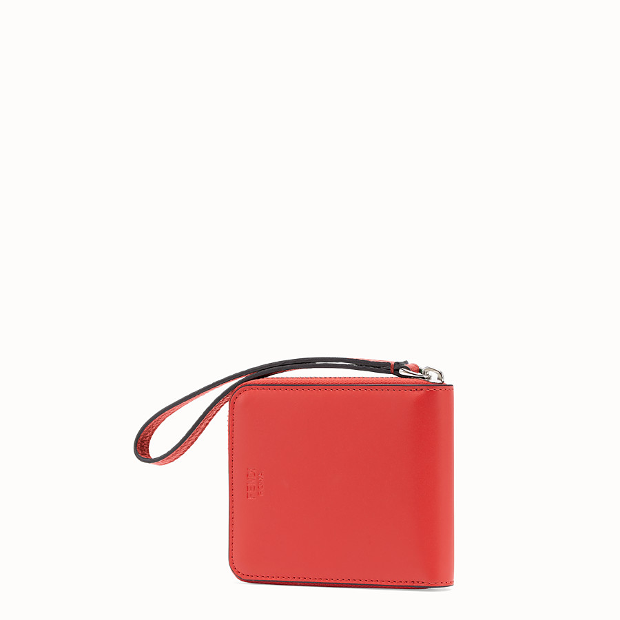 FENDI 全拉鏈式皮夾 - 紅色皮革皮夾 - view 2 detail