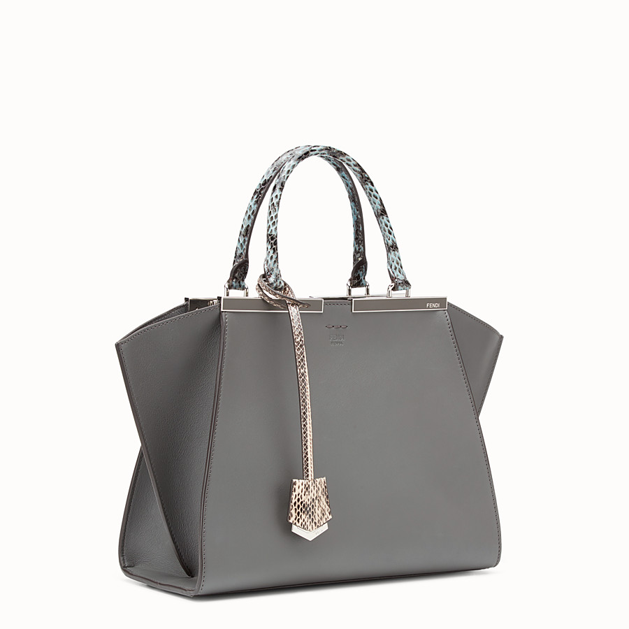 FENDI 3JOURS - Grey leather bag with exotic details - view 2 detail