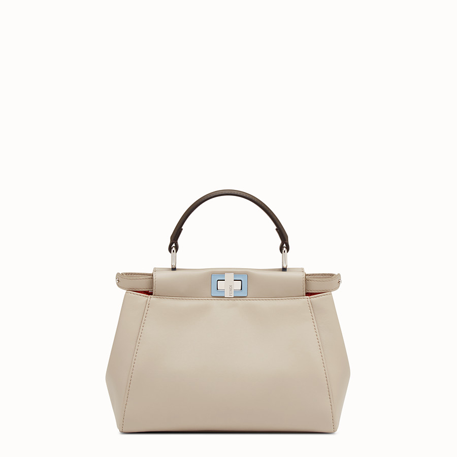 FENDI PEEKABOO MINI - Powder-gray nappa handbag - view 1 detail