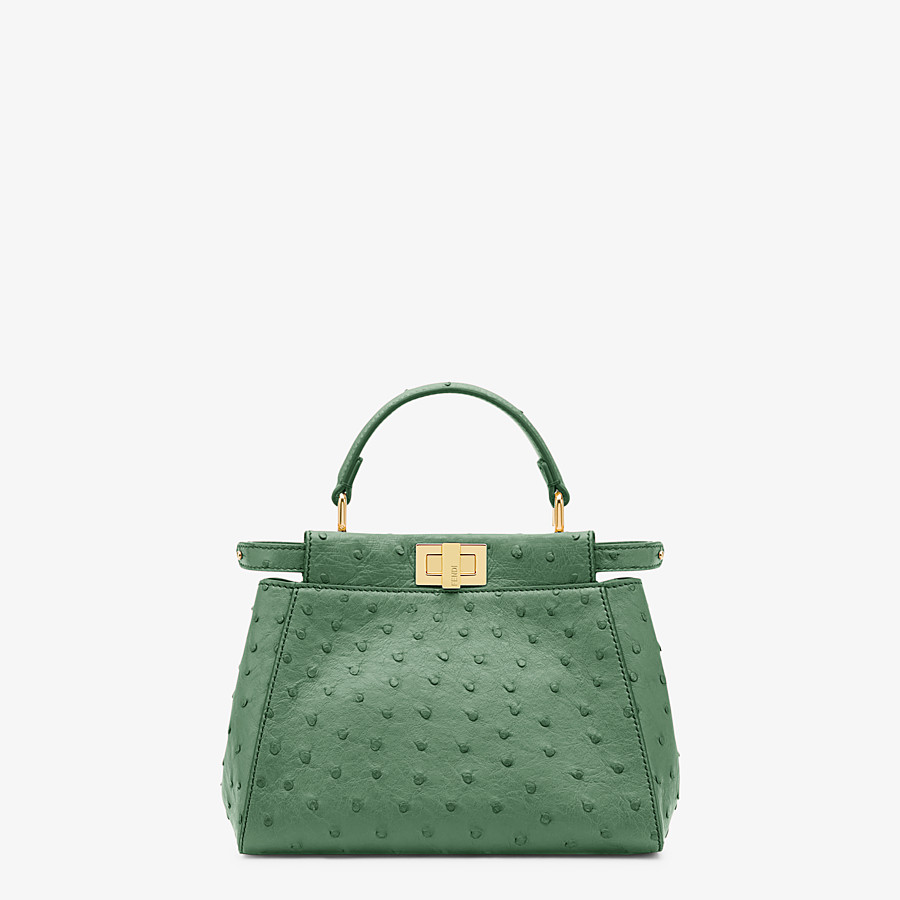 FENDI PEEKABOO ICONIC MINI - Green ostrich leather bag - view 1 detail