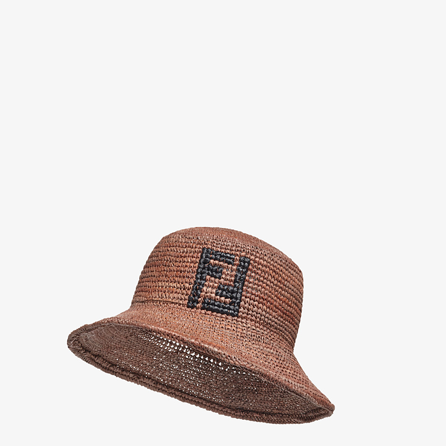 FENDI HAT - Brown raffia bucket hat - view 1 detail
