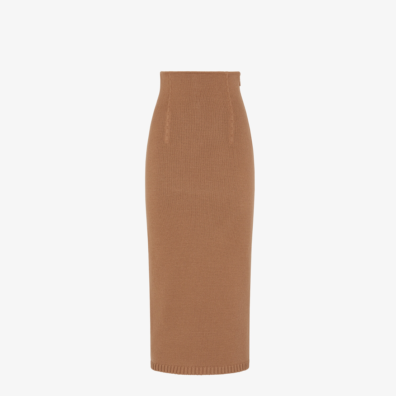 FENDI SKIRT - Brown cashmere skirt - view 1 detail