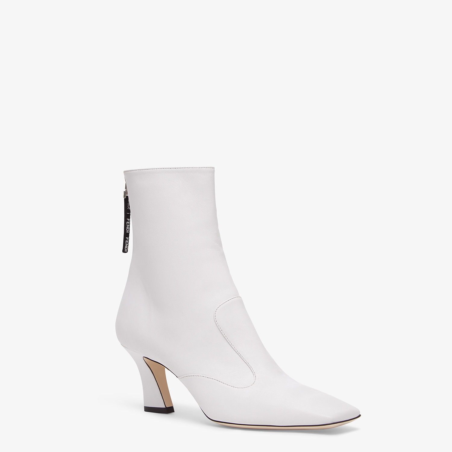FENDI ANKLE BOOTS - White nappa leather booties - view 2 detail