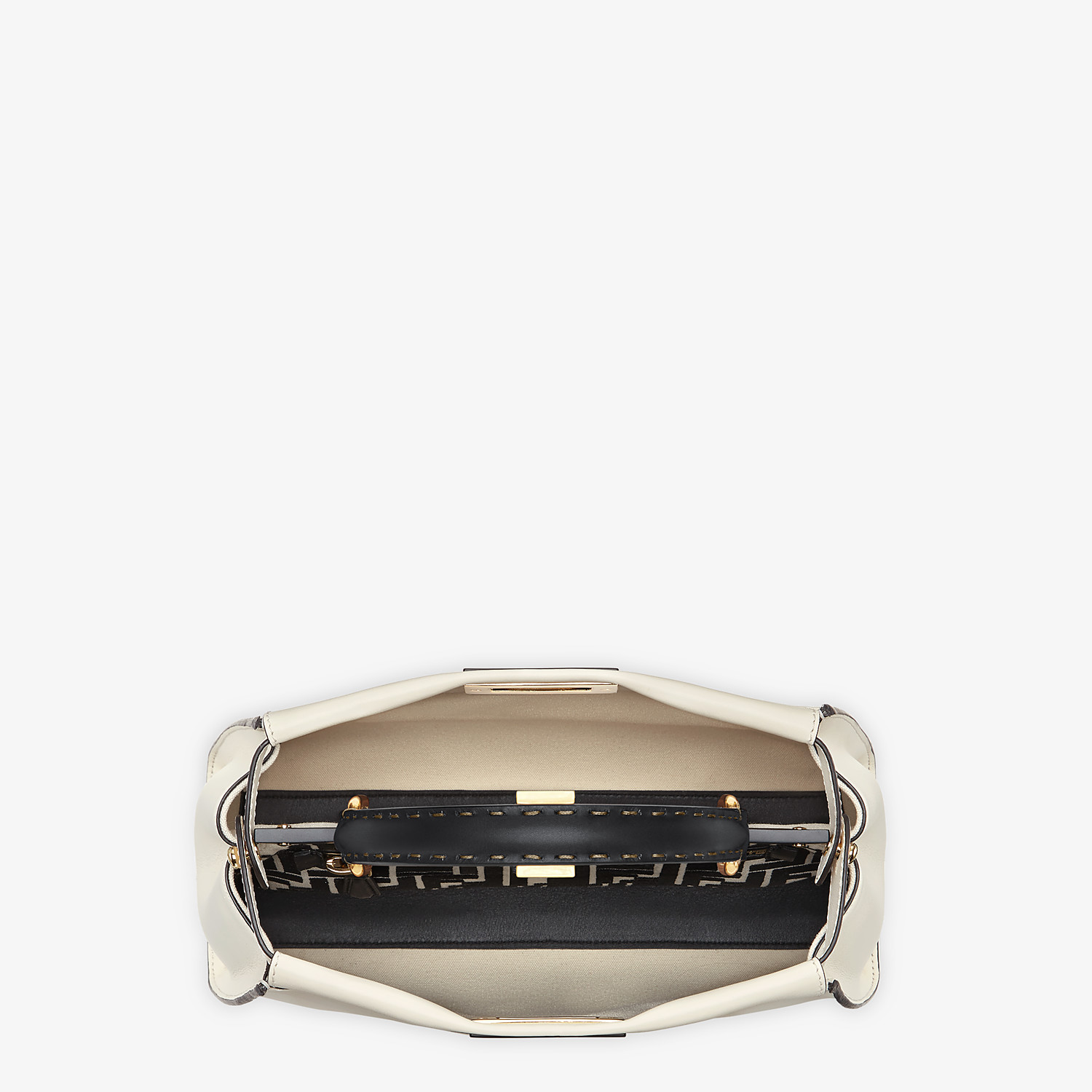 FENDI PEEKABOO ICONIC MEDIUM - White leather and FF embroidery bag - view 5 detail