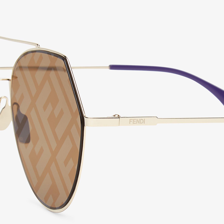 FENDI EYELINE - Gold-coloured sunglasses - view 3 detail