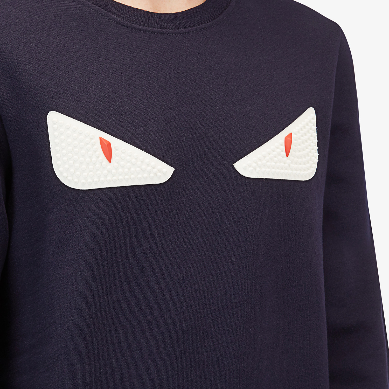 FENDI SWEATSHIRT - Blue wool and cotton sweatshirt - view 3 detail