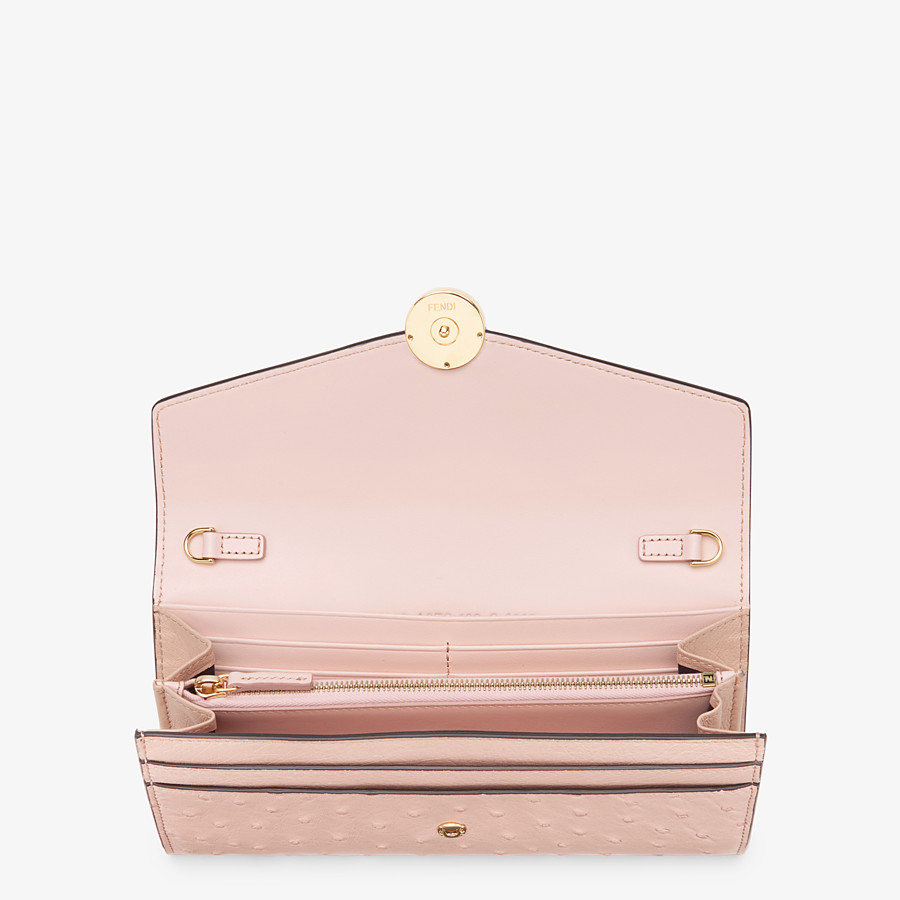 FENDI CONTINENTAL WITH CHAIN - Pink ostrich leather wallet - view 4 detail