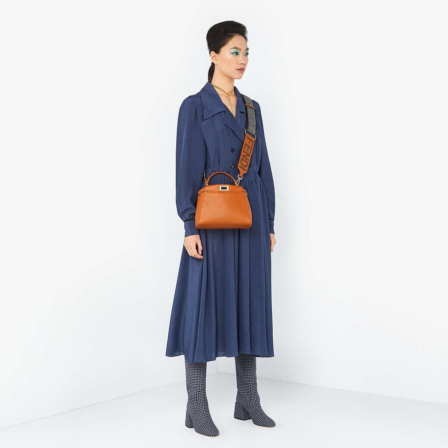 FENDI PEEKABOO ICONIC MINI - Brown nappa leather bag - view 2 detail