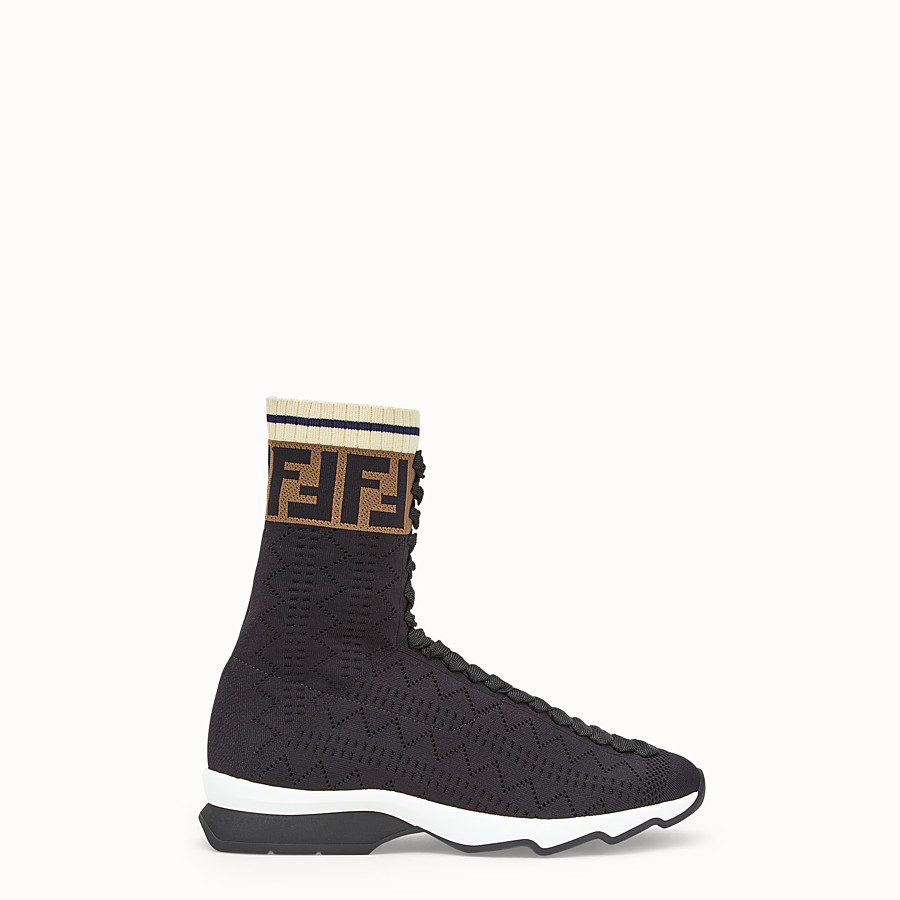 FENDI SNEAKERS - Black fabric sneaker boots - view 1 detail