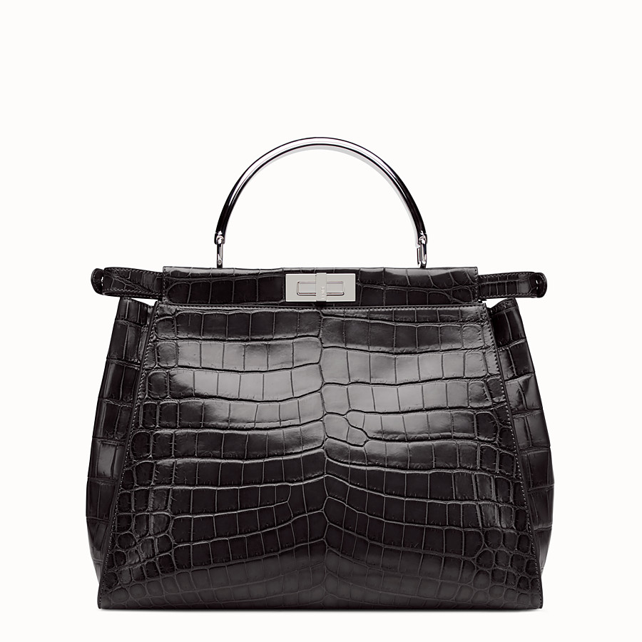 FENDI PEEKABOO LARGE - Black crocodile leather handbag. - view 3 detail