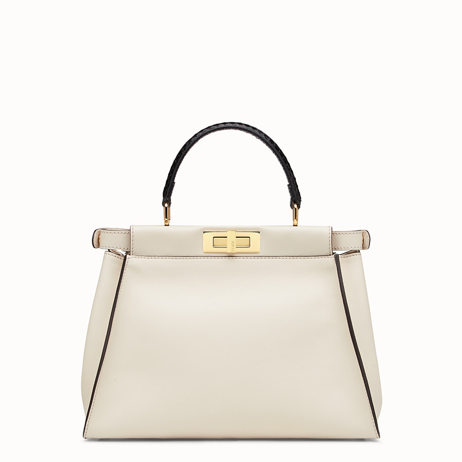 FENDI PEEKABOO REGULAR - White leather bag with exotic details - view 3 detail