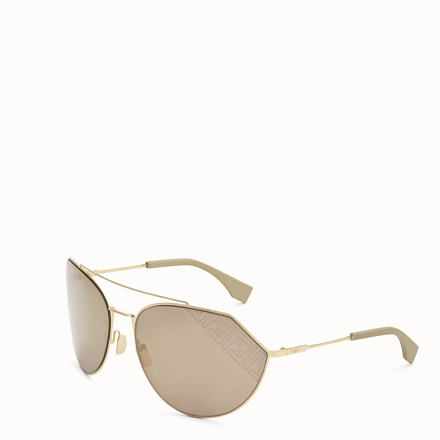 FENDI EYELINE 2.0 - Beige and gold sunglasses - view 2 detail