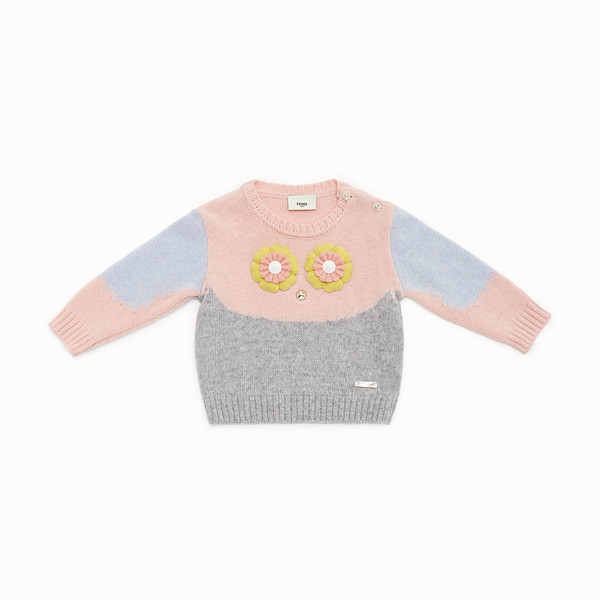 FENDI SWEATER - Baby girl's grey and multicolour wool blend jumper - view 1 small thumbnail