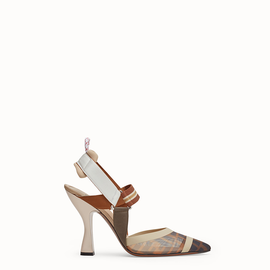 FENDI COURT SHOES - Multicolour tech mesh slingbacks - view 1 detail
