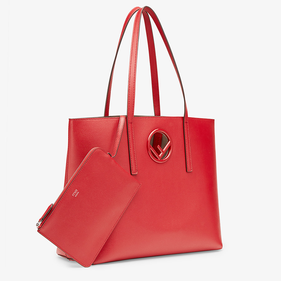 FENDI SHOPPING - Shopper aus Leder in Rot - view 2 detail