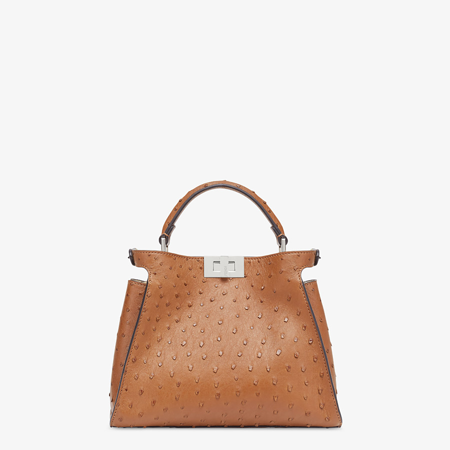 FENDI PEEKABOO ICONIC ESSENTIALLY - Brown ostrich bag - view 3 detail