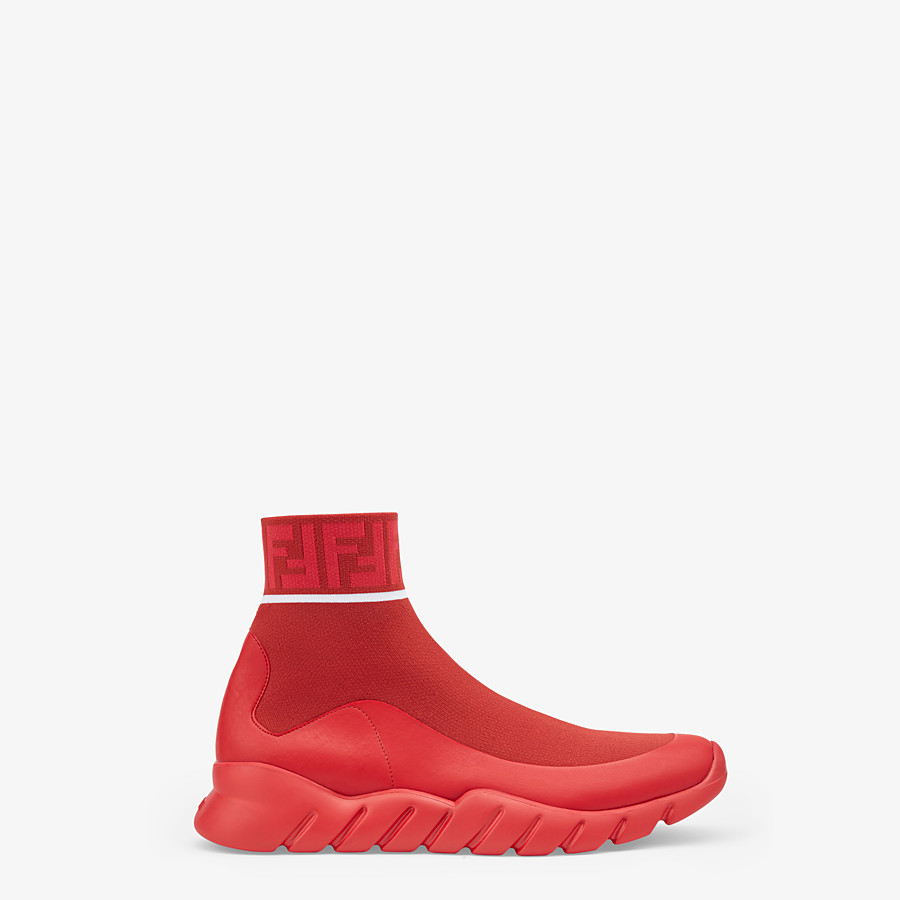 FENDI SNEAKERS - Red, tech fabric high tops - view 1 detail