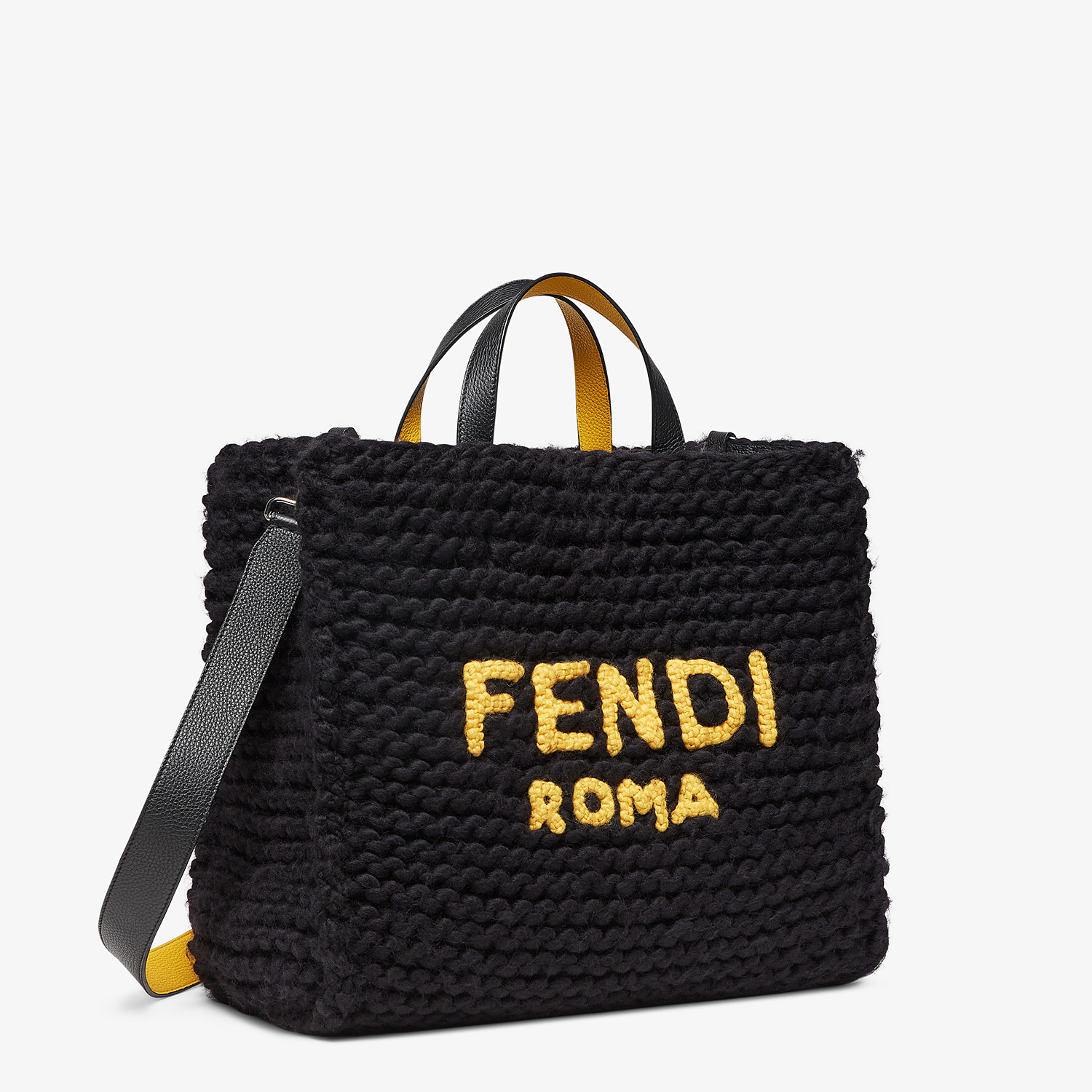 FENDI SHOPPER - Black wool bag - view 2 detail