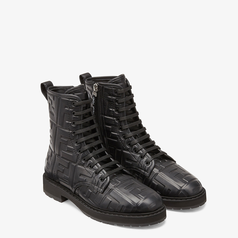 FENDI BIKER BOOTS - Black leather ankle biker boots - view 4 detail