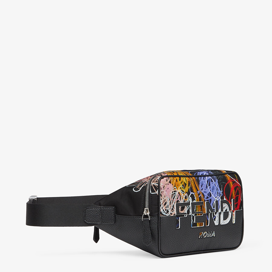 FENDI BELT BAG - Multicolor nylon and leather bag - view 3 detail