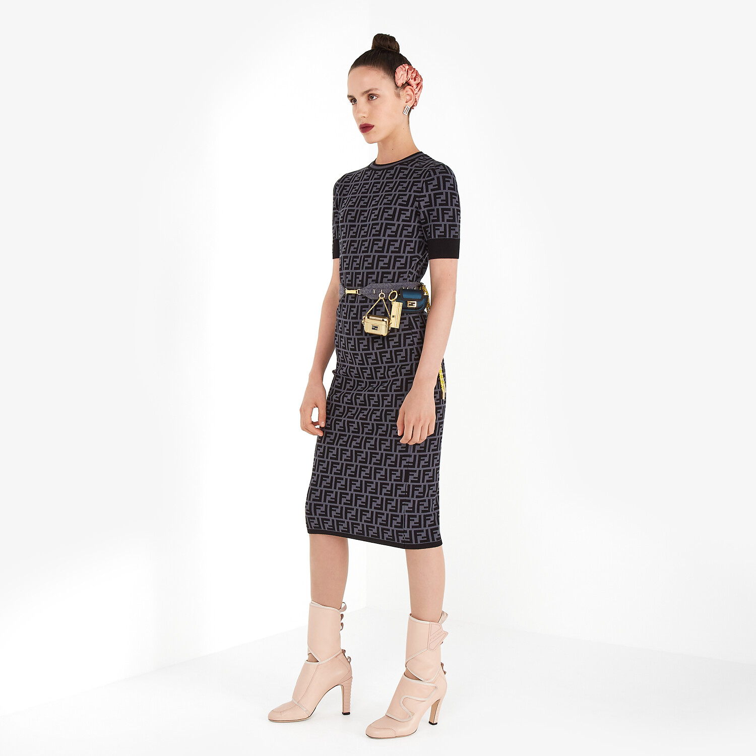 FENDI DRESS - FF motif fabric dress - view 4 detail