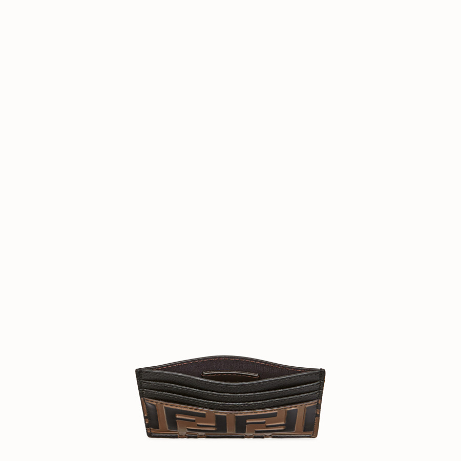 FENDI CARD HOLDER - Brown leather flat card holder - view 4 detail