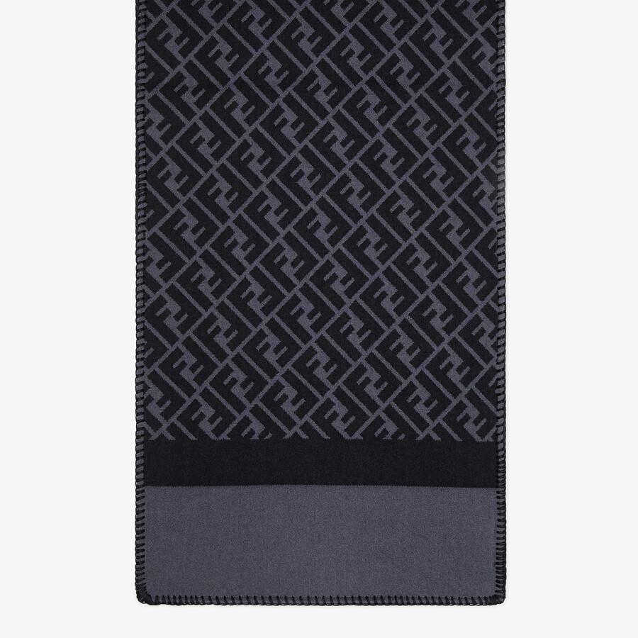 FENDI SCARF - Black wool and silk scarf - view 1 detail