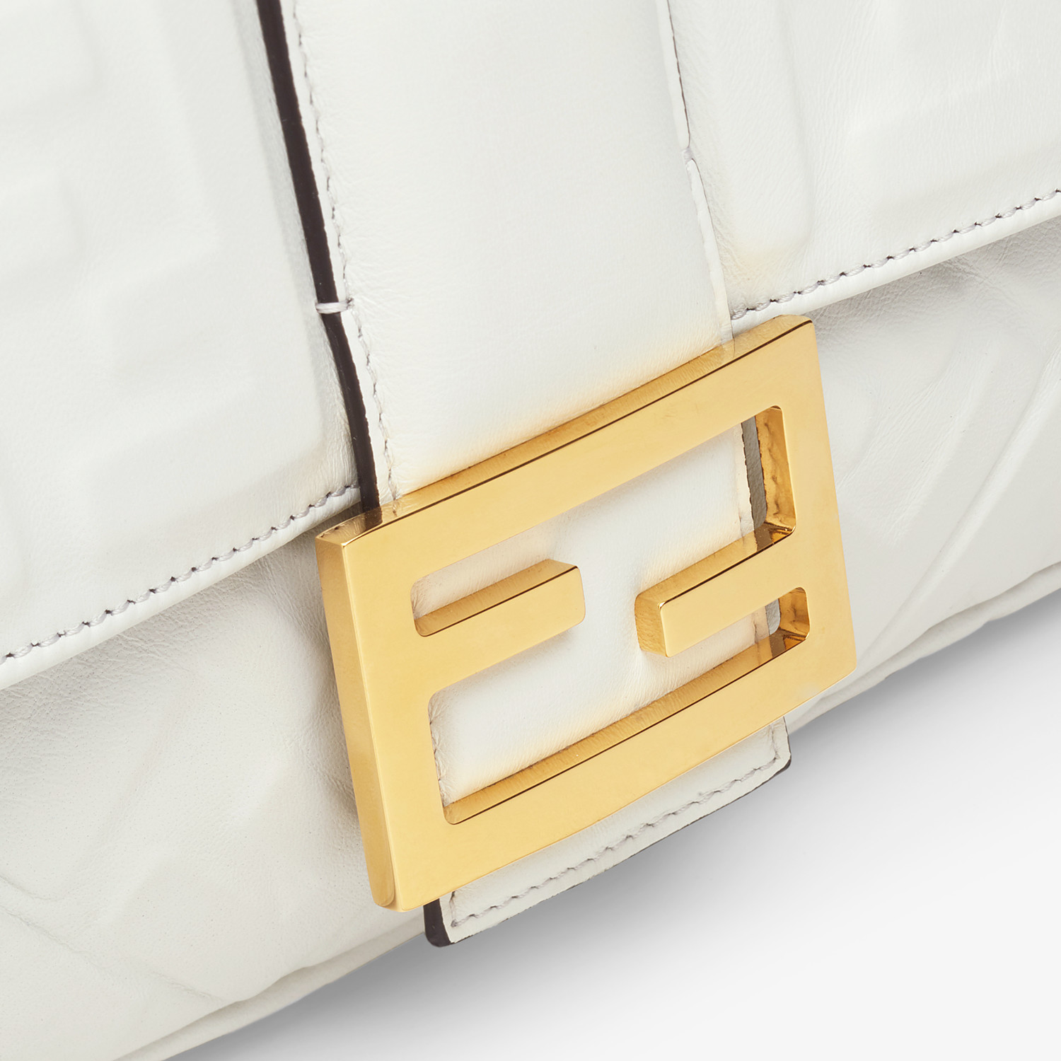 FENDI BAGUETTE LARGE - White leather bag - view 6 detail