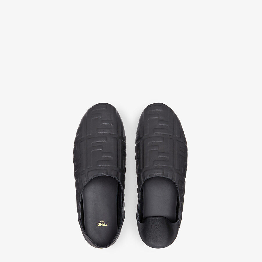 FENDI SIGNATURE - Black nappa leather slippers - view 4 detail