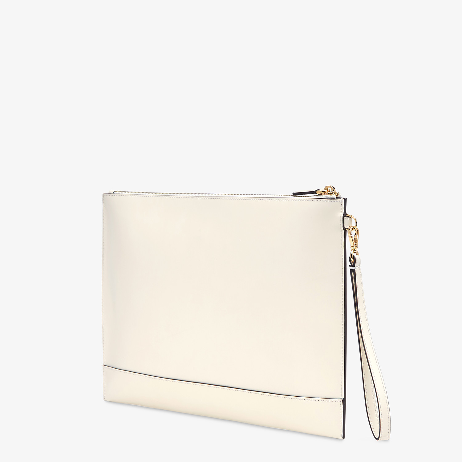 FENDI LARGE FLAT POUCH - White leather pouch - view 3 detail