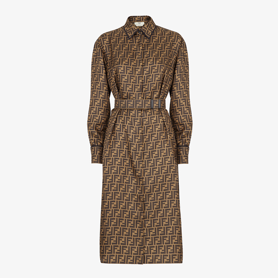 FENDI DRESS - Brown silk dress - view 1 detail