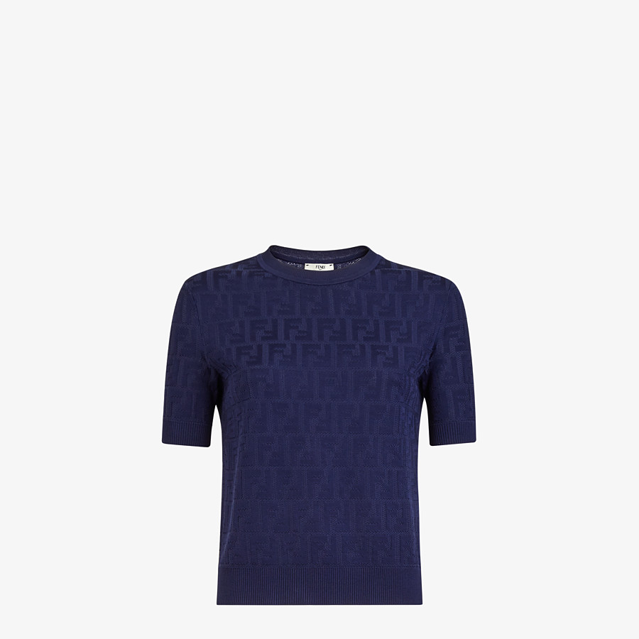 FENDI JUMPER - Blue cotton and viscose jumper - view 1 detail