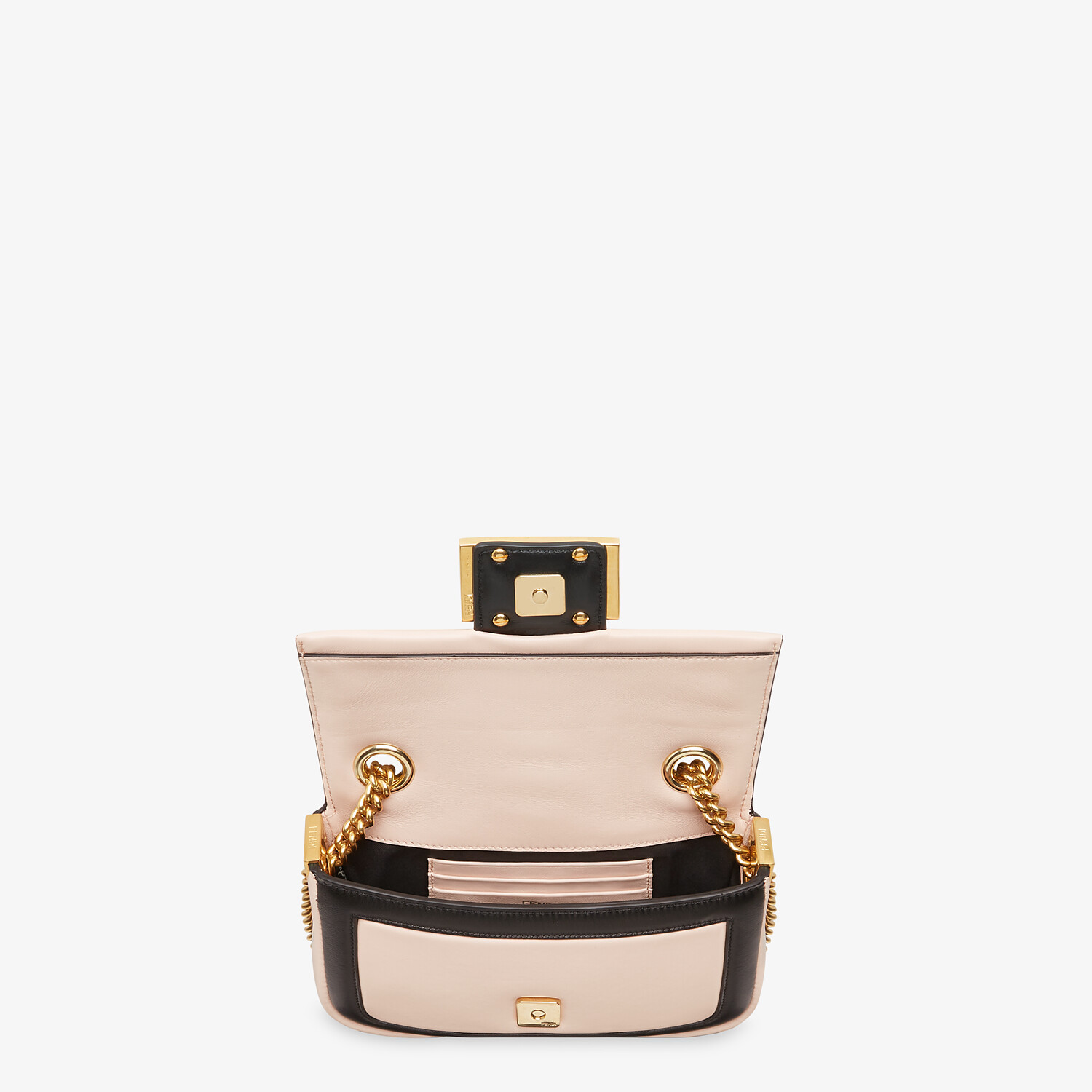 FENDI MINI BAGUETTE CHAIN - Pink and black nappa leather bag - view 4 detail