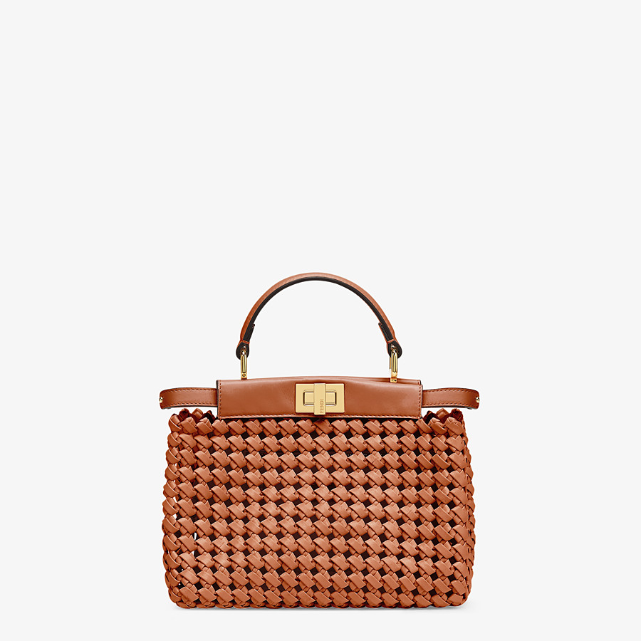 FENDI PEEKABOO ICONIC MINI - Brown leather interlace bag - view 1 detail