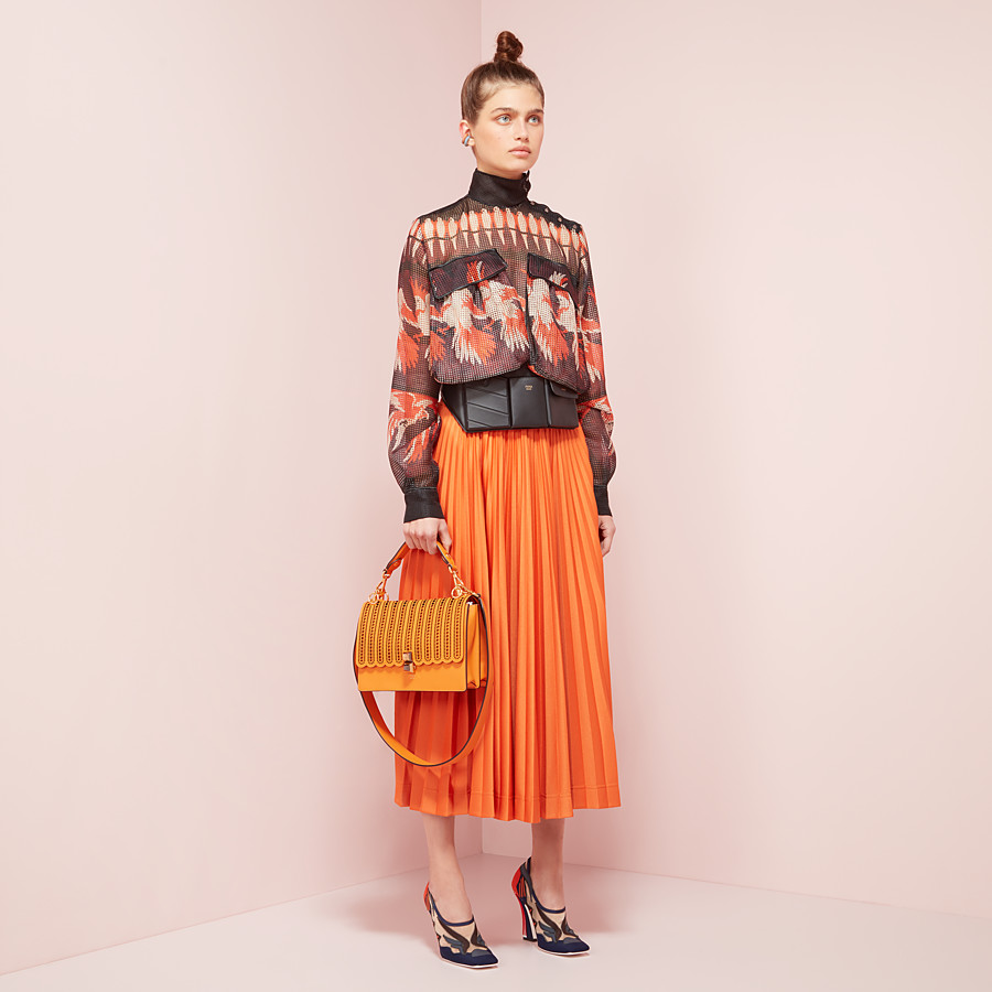 FENDI SKIRT - Orange cotton jersey skirt - view 4 detail