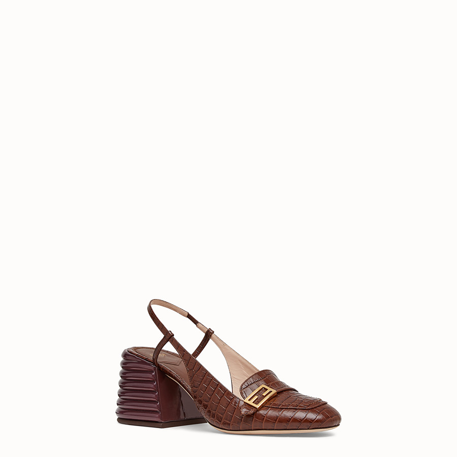 FENDI SLINGBACK - Brown leather Promenade - view 2 detail
