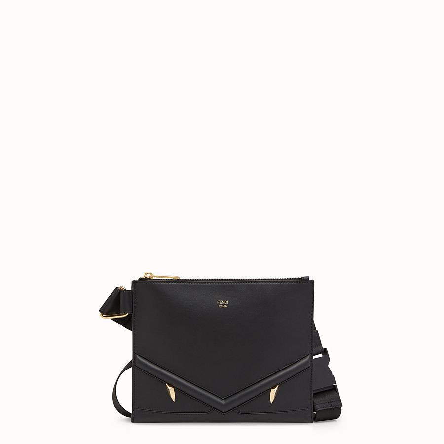 FENDI MESSENGER - Black leather slim pouch - view 1 detail