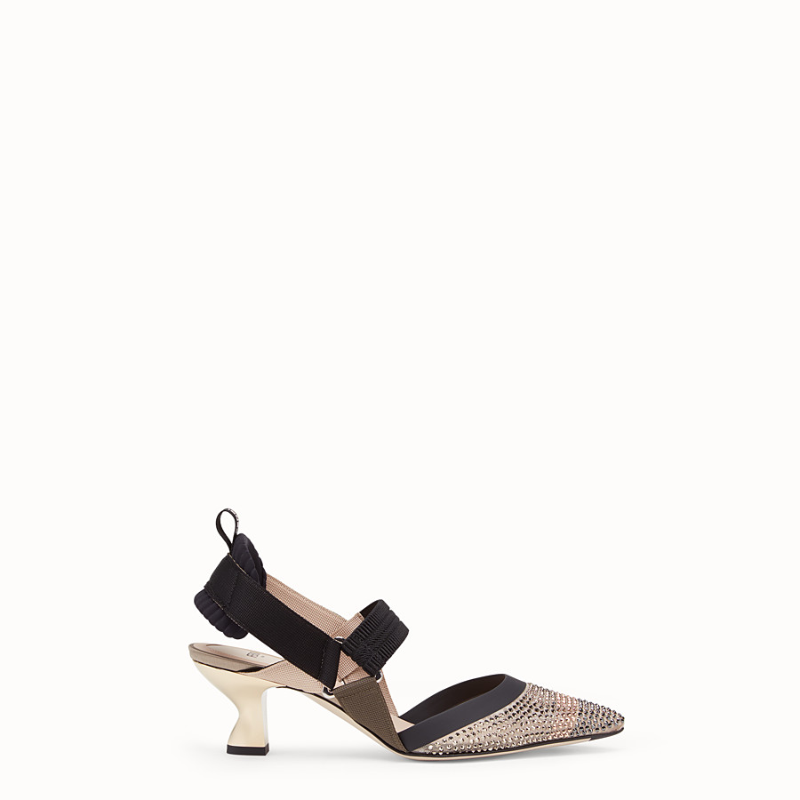FENDI COURT SHOES - Beige mesh slingbacks - view 1 detail