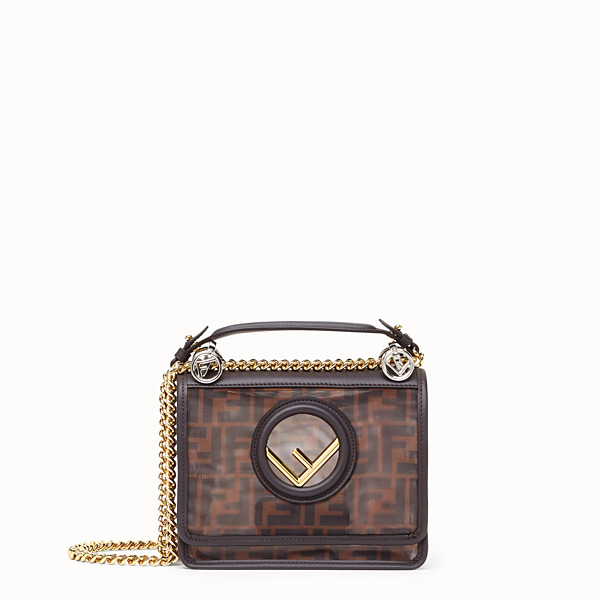 FENDI KAN I F SMALL - Brown tech mesh mini bag - view 1 small thumbnail