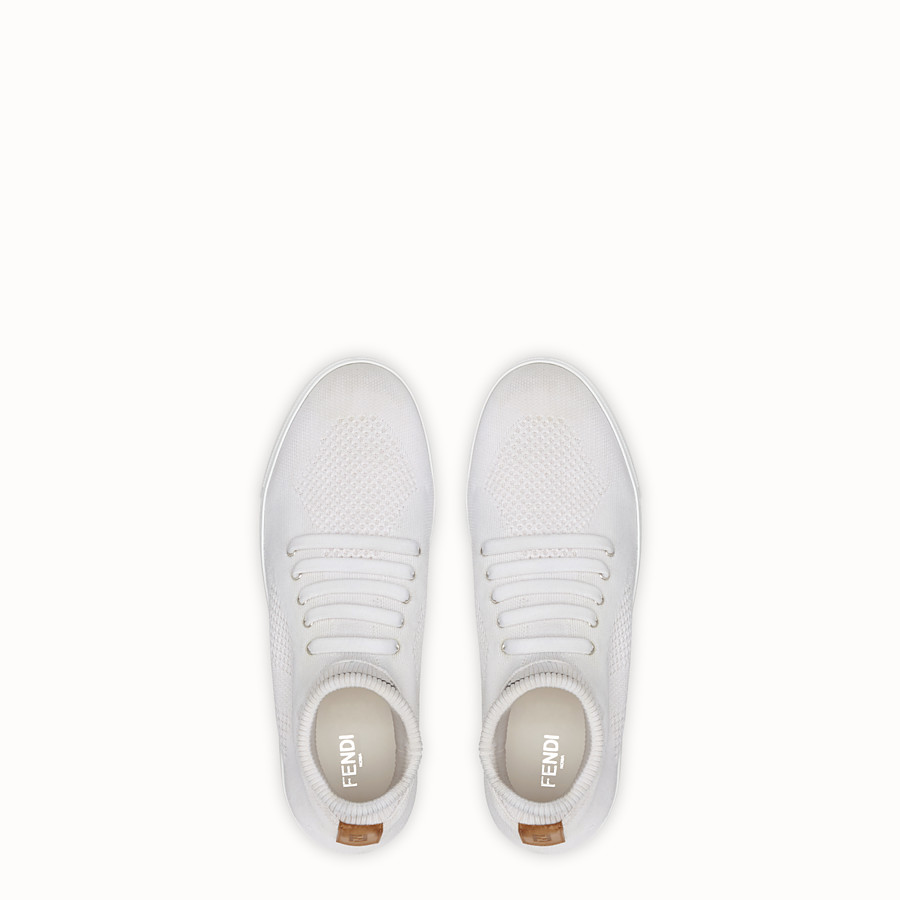 FENDI SNEAKERS - White tech knit low-tops - view 4 detail