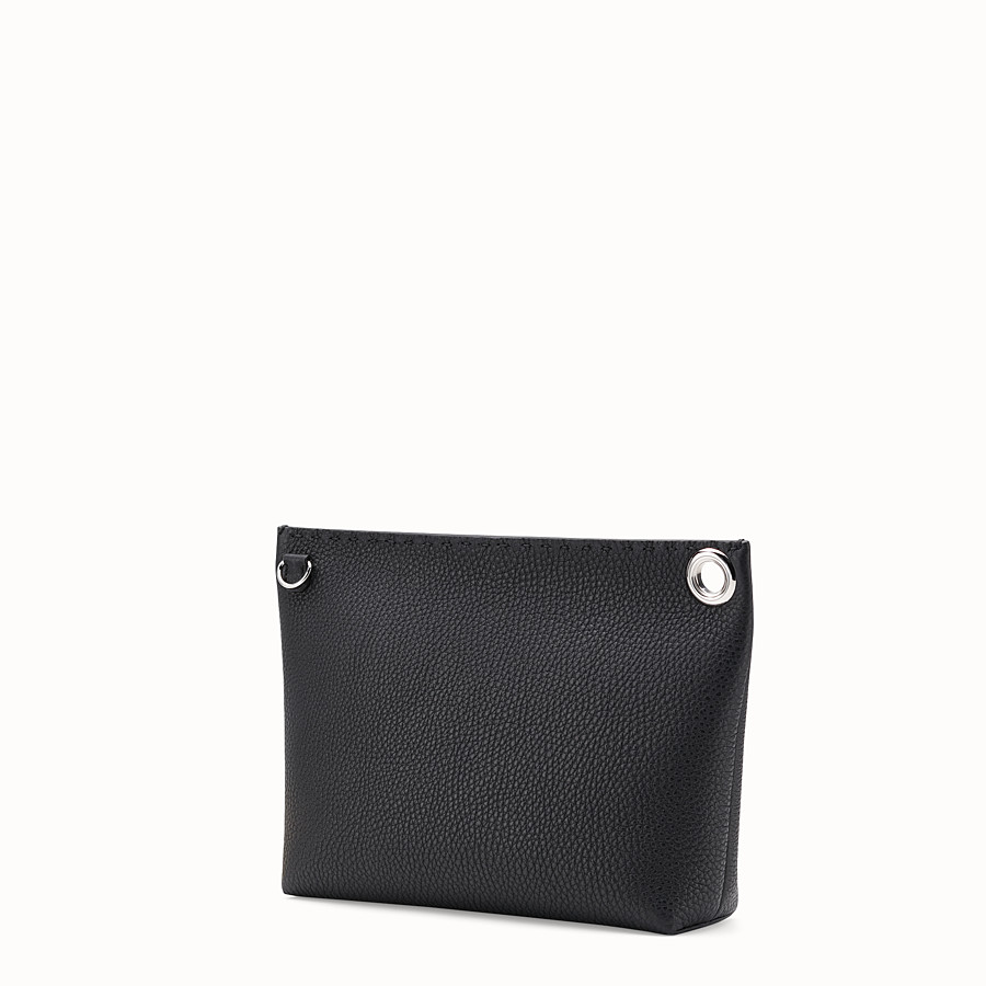 FENDI LARGE PYRAMID POUCH - Black leather pouch - view 2 detail