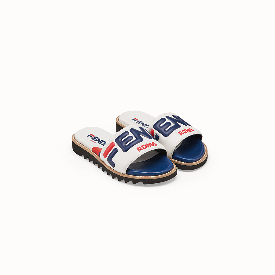 FENDI SANDALS - White leather slides - view 2 detail