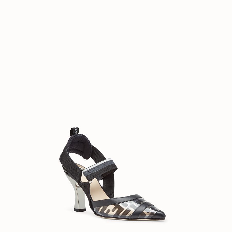 FENDI COURT SHOES - Slingbacks in PU and black leather - view 2 detail