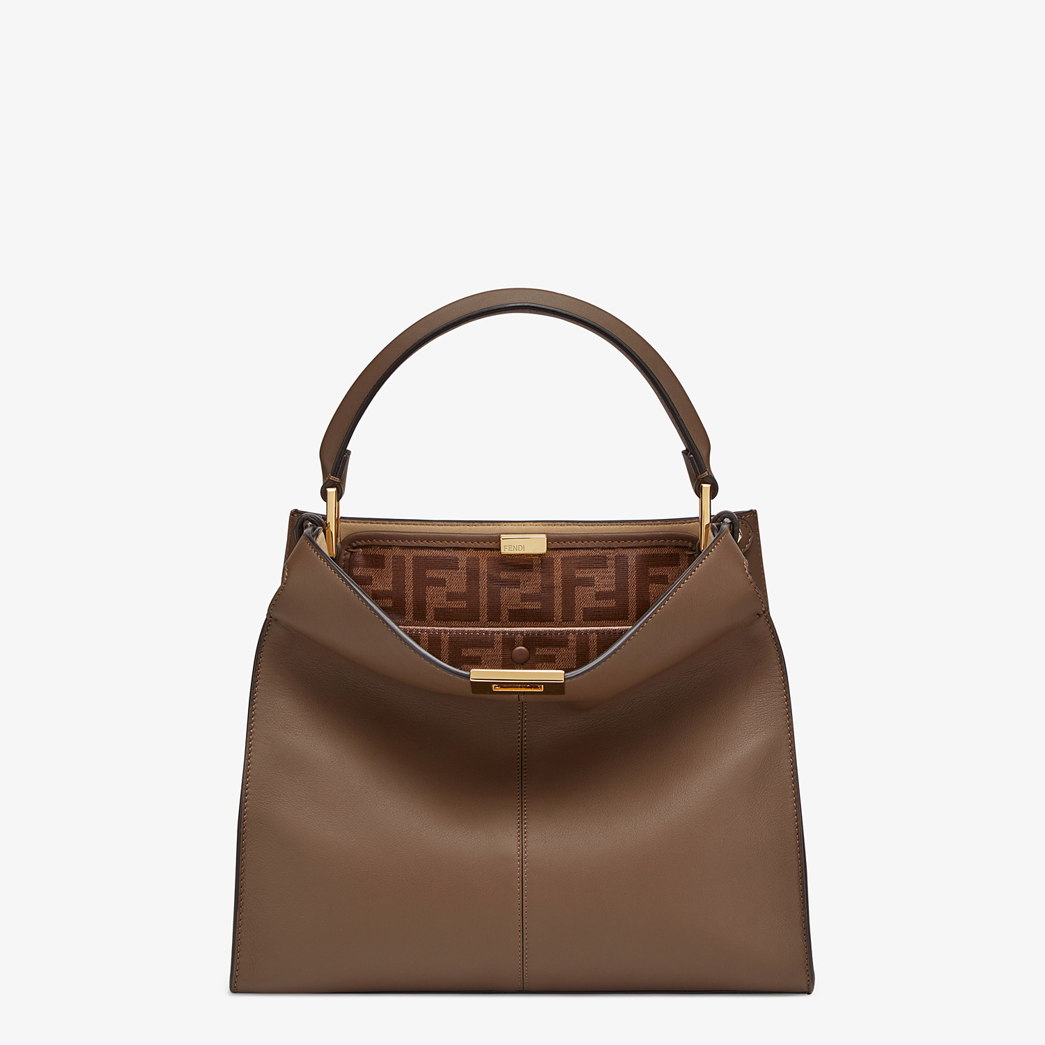FENDI MEDIUM PEEKABOO X-LITE - Brown leather bag - view 2 detail